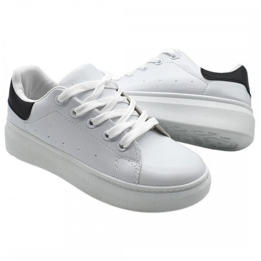 Pantofi  Casual Edy White Black Cod 2067 - Oferta 1+1 Gratis-oferit de denyonline.ro